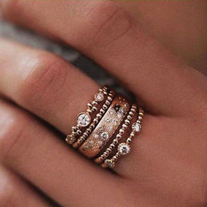 Jewelry - Crystal Rose Gold Stackable Ring Set